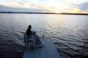 Loving The Caregiver Relaxing On The Dock